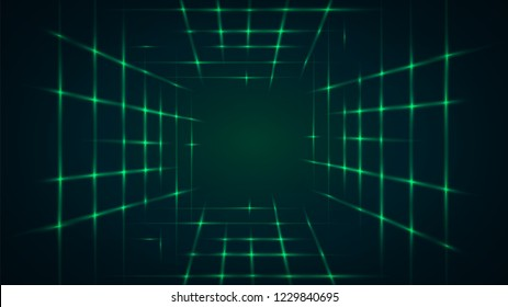 Abstract green background with a laser tunnel
