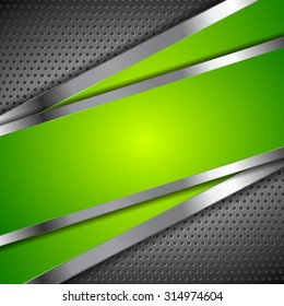 Abstract green background with metallic perforated design. Vector illustration