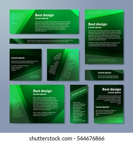 Abstract green banner with business design templates.  Set of Banners with polygonal mosaic backgrounds. Geometric triangular vector illustration.