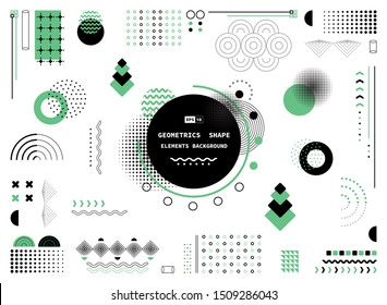 Abstract green and black geometric shape of modern elements cover design background. Use for poster, artwork, template design, ad, print. illustration vector eps10