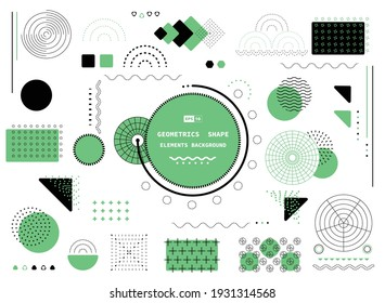 Abstract green and black geometric shape of rectangle modern elements form design. Lines style of circle and geometric header background. illustration vector