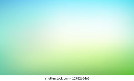 Abstract green and blue blurred gradient mesh background with light. Trendy colors. Modern nature backdrop. Ecology concept for your graphic design, banner or poster
