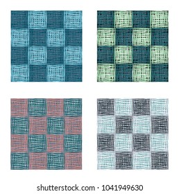 Abstract green blue squares seamless pattern set , texture background