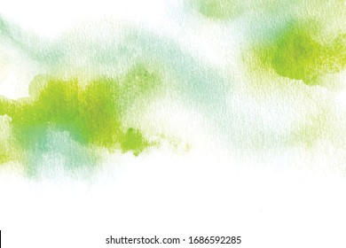 Abstract green blue watercolor on white background.The color splashing on the paper.It is a hand drawn.