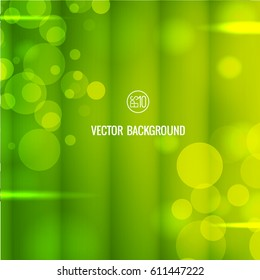 Abstract green bokeh background with transparent circles glowing and light effects vector illustration
