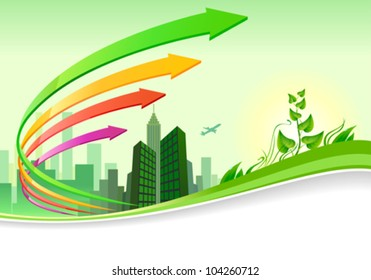 Abstract green city  landscape   business brochure design