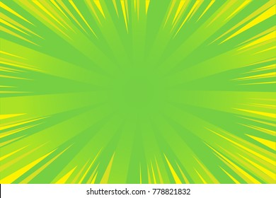 Abstract green comic radial speed line background, cartoon background