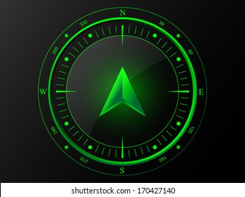 Abstract green compass with 3 D arrow pointer in the middle, isolated on dark background