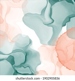 Abstract green coral alcohol ink background. Fluid painting vector. Dye splash style. Design texture backdrop for for poster, card, invitation, flyer, cover, banner, brochure.