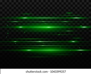Abstract green flash and laser beams. Isolated on a transparent black background. Vector illustration