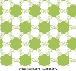 Abstract green forms, seamless pattern