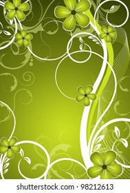 an abstract green and fresh vector floral design