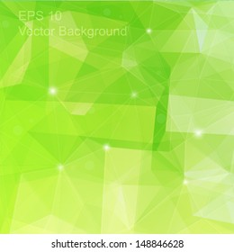 Abstract green geometric background, triangulation generic backdrop for design, colorful vector template