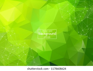 Abstract Green Geometric Polygonal background molecule and communication. Connected lines with dots. Concept of the science, chemistry, biology, medicine, technology.