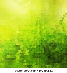 Abstract green geometric sunny background, colorful mosaic banner. Vector illustration.