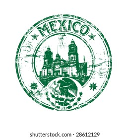 Abstract green grunge rubber stamp with the coat of arms of Mexico, small stars and the name Mexico written inside the stamp
