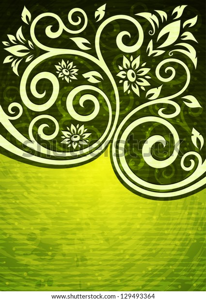 Abstract green grunge vector floral illustration.(RGB, EPS10)
