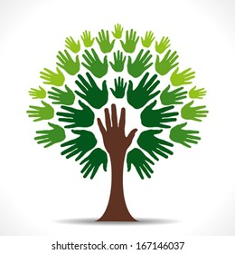 abstract green hand tree background vector