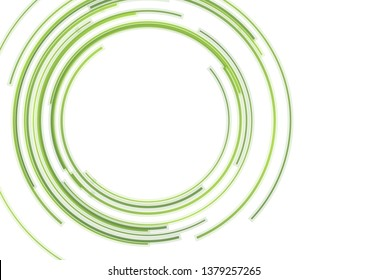 Abstract green HUD circles futuristic tech background. Vector design