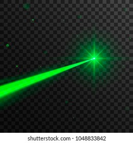 Abstract green laser beam. Isolated on transparent black background. Vector illustration, eps 10.