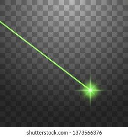 Abstract green laser beam. Isolated on transparent black background. Vector illustration