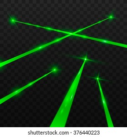 Abstract green laser beams. Isolated on transparent black background. Vector illustration, eps 10.