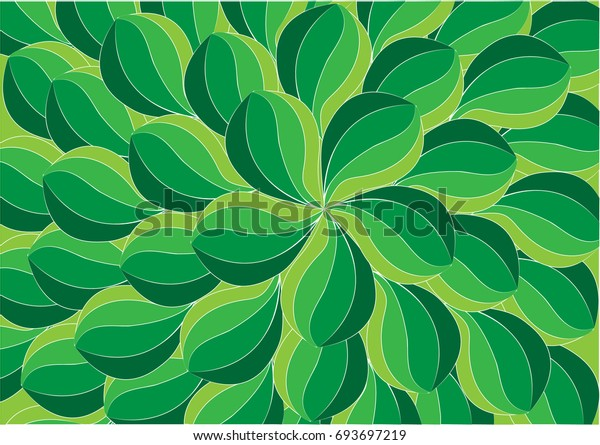 Abstract Green Leaf Background Illustraion Hand Stock Vector