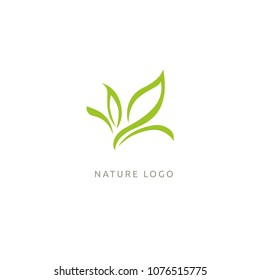 Abstract green leaf logo icon vector design. Landscape design, garden, Plant, nature and ecology vector logo. Ecology Happy life Logotype concept icon. Vector illustration, Graphic Design Editable Des