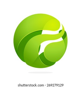 Abstract green leaf sphere logo. High quality eco vector template.