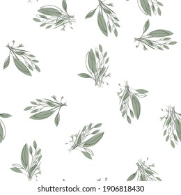Abstract green leave or foliage on white background. Hand drawn elements brances in natural summer seamless pattern. Art decorative organic botany environment concept. Fresh garden vector illustration