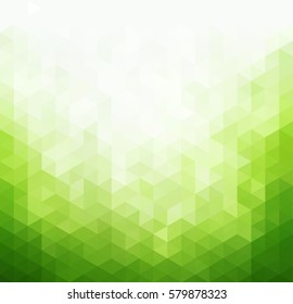 Abstract green light template background. Triangles mosaic