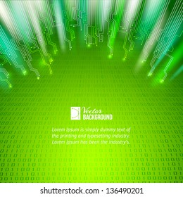 Abstract green lights background. Vector illustration, contains transparencies, gradients and effects.