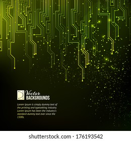 Abstract green lights background. Vector illustration.