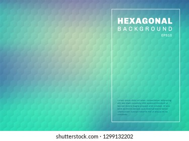 Abstract green mint and blue turquoise gradient blurred background with hexagon embossed pattern texture. You can use for template cover design brochure, poster, banner web, print, flyer, ad, etc