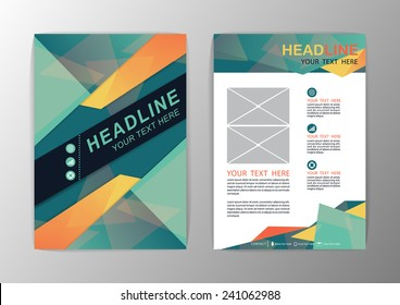 Abstract green and orange Triangle design Brochure Flyer template layout-vector illustration