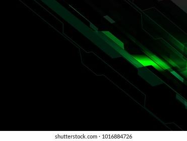 Abstract green polygon light technology energy on black design modern futuristic background vector illustration.