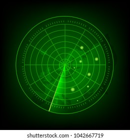 Abstract green radar with targets in action. Military search system. vector EPS10