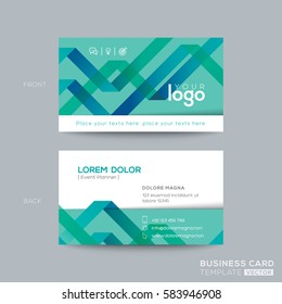 abstract green ribbon background business card namecard design