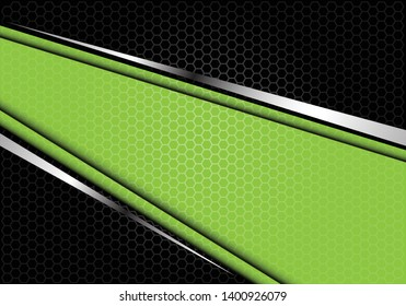 Abstract green silver line banner on black hexagon mesh pattern design modern futuristic background vector illustration.