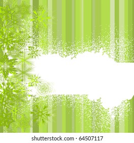 Abstract green with snowflakes. Vector illustration
