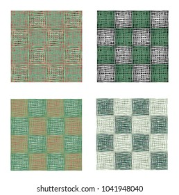 Abstract green squares seamless pattern set, texture background