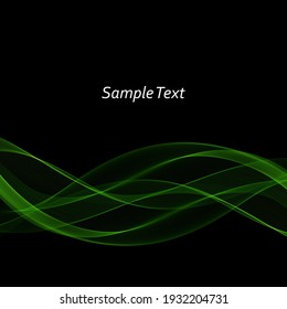 Abstract green transparent smooth waves background, design element