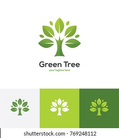 Abstract green tree logo. Organic or natural design element. Plant, garden, park vector icon.
