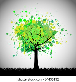 Abstract green tree. Vector background.