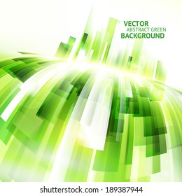 Abstract green vector background. Motion design template. Sunny lighting effects.