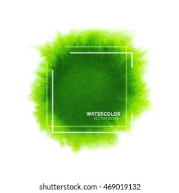 Abstract green watercolor background with square frame, hand drawn watercolour stain, bright vector splash for design