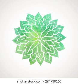 Abstract green watercolor flower on white background. Logo template. Vector decorative element for design