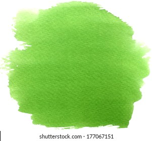 Abstract green watercolor hand painted background stain
