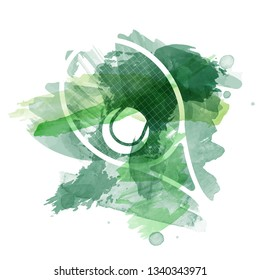 Abstract green watercolor splashes with tennis equipment silhouettes on white background - vector illustration
