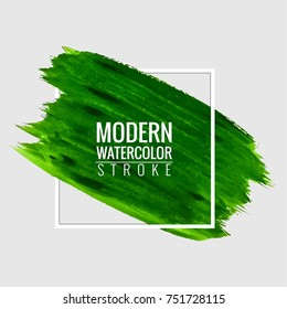 Abstract green watercolor stroke background vector